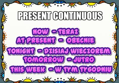 Present Continuous określniki czasu