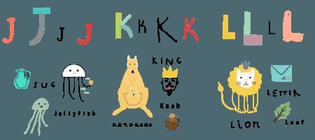alfabet angielski jkl