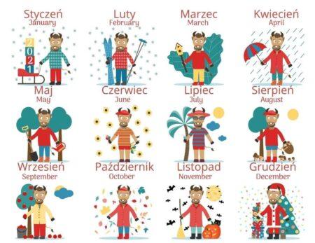 styczeń - January, luty - February, marzec - March...
