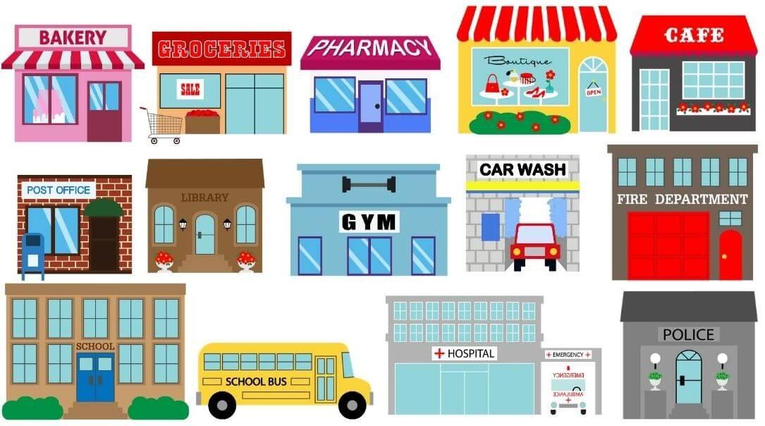 nazwy sklepu i miejsc po angielsku