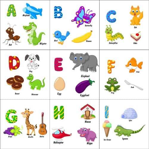 alfabet angielski dla dzieci słówka