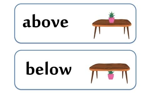 above below przyimki angielski